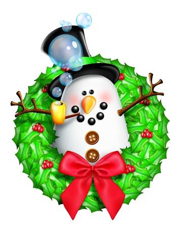 Whimsical Cartoon Christmas Wreath with Snowman