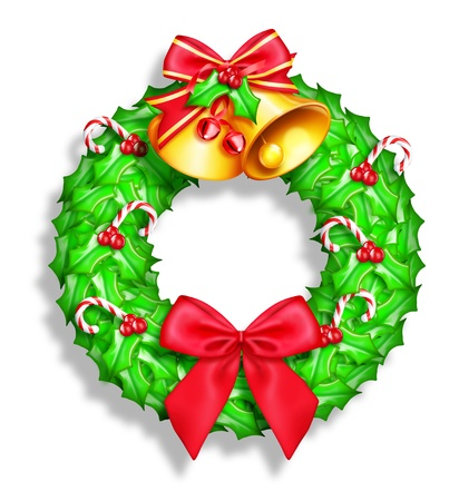 Whimsical Cartoon Christmas Wreath photo