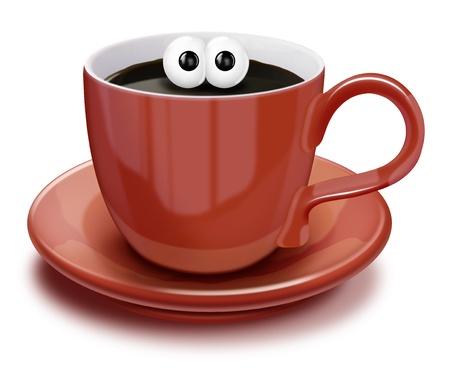 coffee: Whimsical Cartoon Coffee Cup