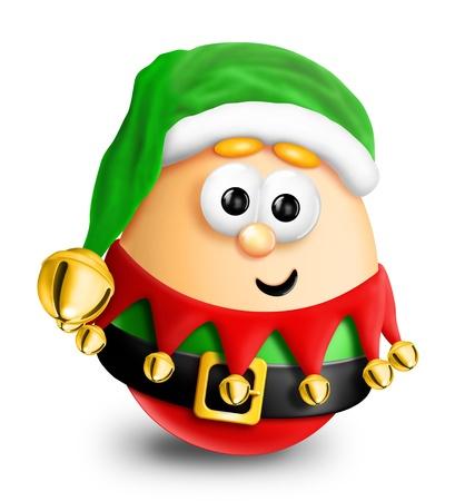Whimsical Cartoon Christmas Egg Elf Фото со стока