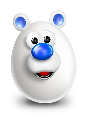 Whimsical Cartoon Christmas Egg Polar Bear