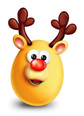 Whimsical Cartoon Christmas Egg Reindeer Archivio Fotografico
