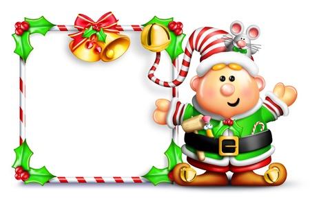 Grappig Cartoon Elf voor lege Teken Stockfoto