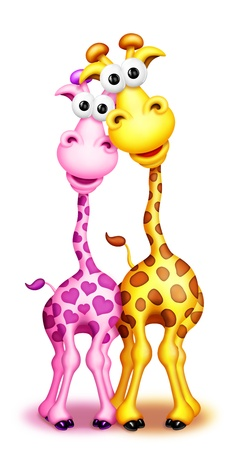 Whimsical Cute Cartoon Giraffes Boy and Girl Stock Photo