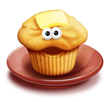 with humor: Whimsical Cartoon Muffin on Plate Stock Photo