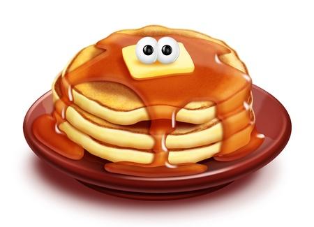 panqueques: Cartoon caprichoso Pancake Stack con jarabe y la mantequilla
