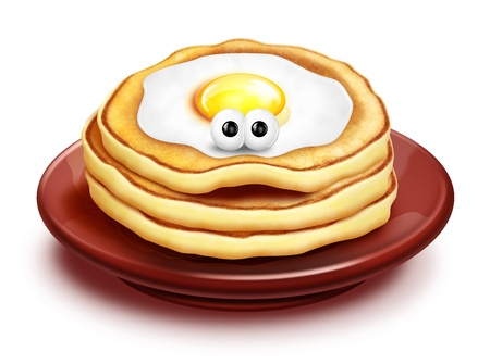Grappig Cartoon Pancake Stack met gebakken ei Stockfoto