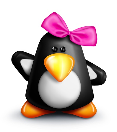 Whimsical Cartoon Penguin Girl with Bow Imagens - 15242113