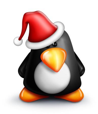 pinguino caricatura: Whimsical Ping�ino de la historieta en el sombrero de Santa Foto de archivo