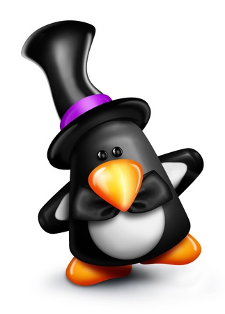 Whimsical Cartoon Penguin in Top Hat Imagens - 15242146