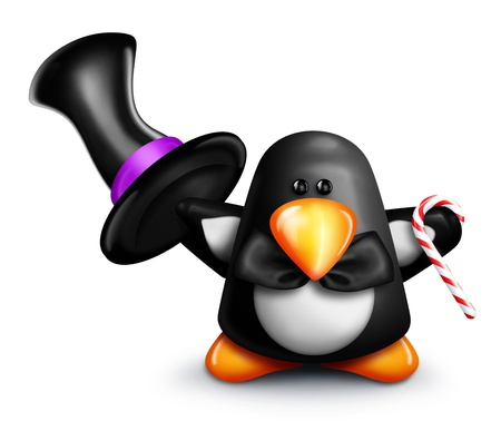 top hat cartoon: Whimsical Cartoon Penguin Tipping Top Hat