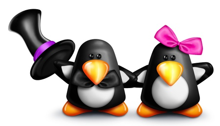 Whimsical Cartoon Penguins Holding Hands Stock Photo - 15242152
