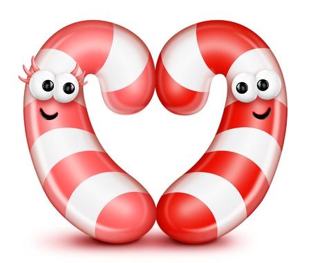 Whimsical Cartoon Candy Cane Heart photo