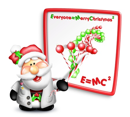 Whimsical Cartoon Santa Scientist with DNA Strand Stock Photo