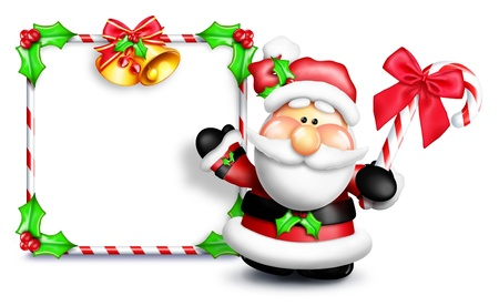 Whimsical Cartoon Santa in Front of Blank Sign Stok Fotoğraf
