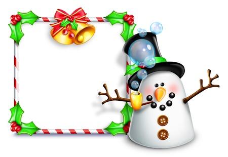 campanas navidad: Mu�eco de nieve caprichoso de la historieta delante de la muestra en blanco Foto de archivo