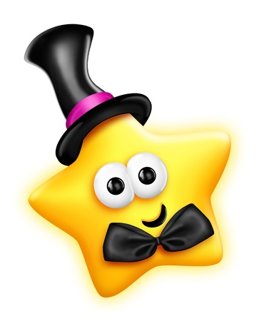 estrella caricatura: Star caprichoso de la historieta linda en sombrero de copa