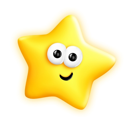 twinkles: Whimsical Cute Cartoon Star Stock Photo