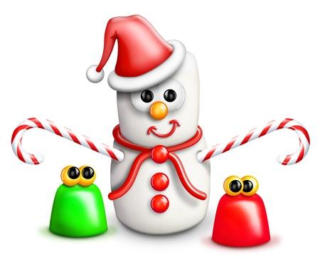 Whimsical Cartoon Marshmallow Snowman and Gumdrops