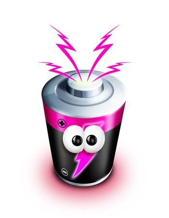 Cartoon batteria Whimsical con bulloni di energia elettrica Archivio Fotografico - 15308546