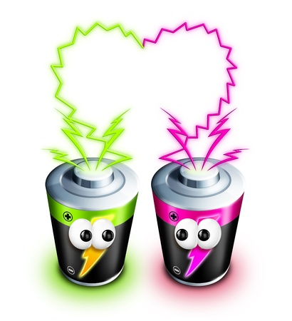 Whimsical Cartoon Batteries with Electricity Heart