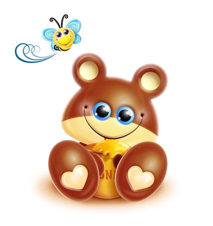 honey pot: Whimsical Kawaii Cute Bear Cub Stock Photo