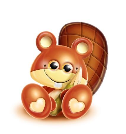 Whimsical Kawaii Cute Cartoon Beaver photo