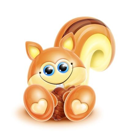 chipmunk: Whimsical Kawaii Cute Cartoon Chipmunk Stock Photo