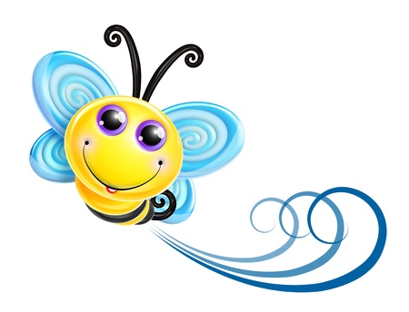 Whimsical Kawaii Cute Cartoon Bee photo