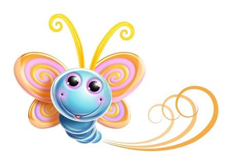 mariposa azul: Whimsical Butterfly Kawaii Cute Foto de archivo