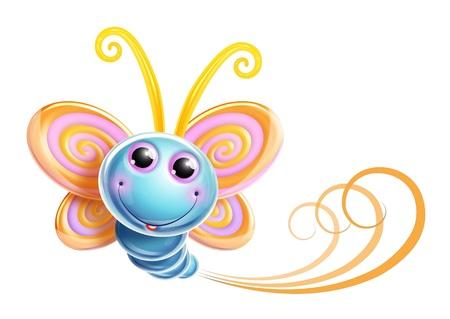 cartoon butterfly: Whimsical Butterfly Kawaii Cute Foto de archivo