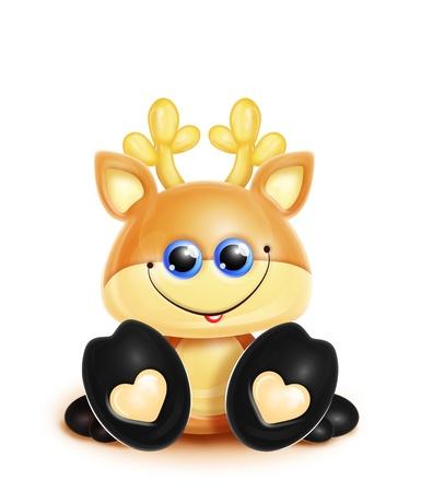 Scherzoso Deer Kawaii Cute Cartoon Archivio Fotografico - 15806162