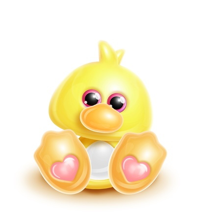 Whimsical Kawaii Cute Cartoon Duck