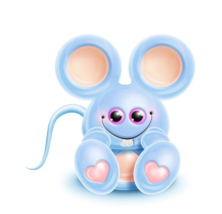 Whimsical Kawaii Cute Cartoon Mouse