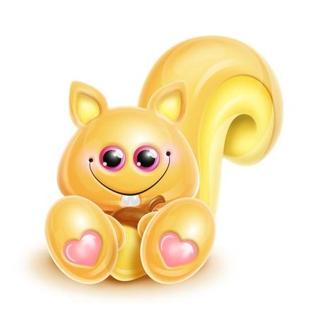 acorn squirrel: Whimsical Kawaii Cute Squirrel Stock Photo