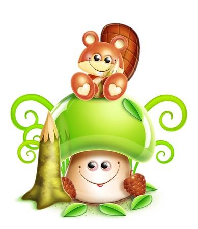 Whimsical Cute Kawaii Cartoon Beaver on Mushroom photo
