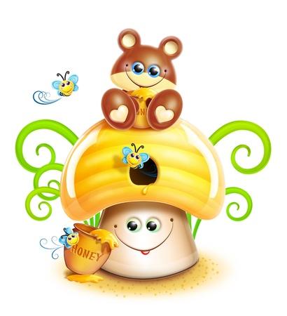 Whimsical Cute Kawaii Cartoon Bear on Mushroom