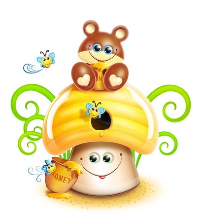 Whimsical Cute Kawaii Cartoon Bear on Mushroom