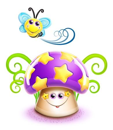 Whimsical Cute Kawaii Cartoon Bee and Mushroom Фото со стока