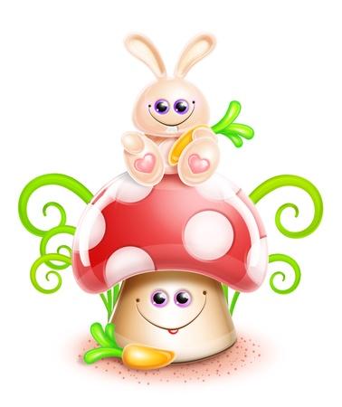 wild mushrooms: Whimsical Cute Kawaii Cartoon Bunny on Mushroom