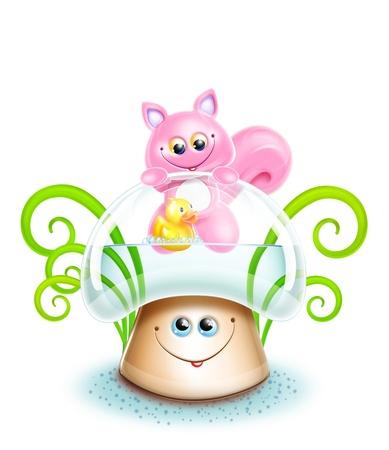 Whimsical Cute Kawaii Cartoon Cat on Mushroom photo
