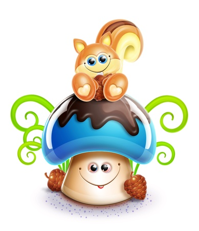 chipmunk: Whimsical Cute Kawaii Cartoon Chipmunk on Mushroom