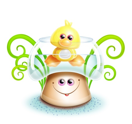 Whimsical Cute Kawaii Cartoon Duck in Mushroom photo
