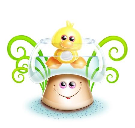 wild mushrooms: Whimsical Cute Kawaii Cartoon Duck in Mushroom Stock Photo
