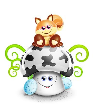 Scherzoso Fox Cute Cartoon Kawaii su fungo Archivio Fotografico - 15806135