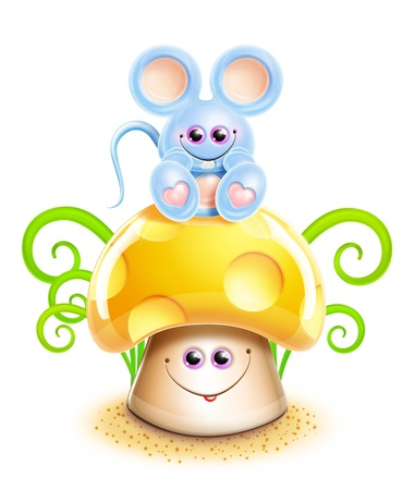cute mouse: Whimsical Cute Kawaii Cartoon Mouse on Mushroom