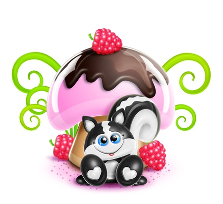 Whimsical Cute Kawaii Cartoon Skunk and Mushroom photo