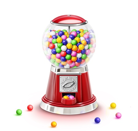 Illustrated Whimsical Gumball Machine with Gumballs 스톡 콘텐츠