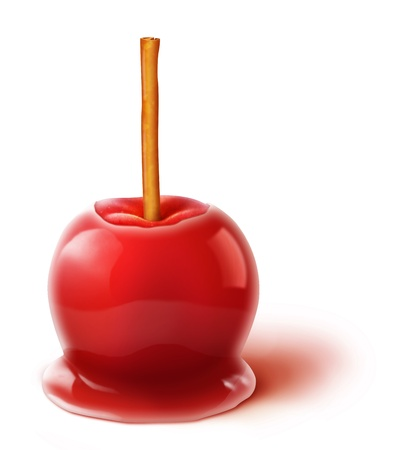 Sugar apple: Illustrated Candy Apple with Cinnamon Stick