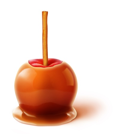 Illustrated Caramel Apple with Cinnamon Stick photo